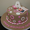 Pink Brown 1st Birthday Cake