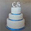 Quilted White & Blue Wedding Cake