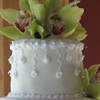 White Wedding Cake Green Orchids